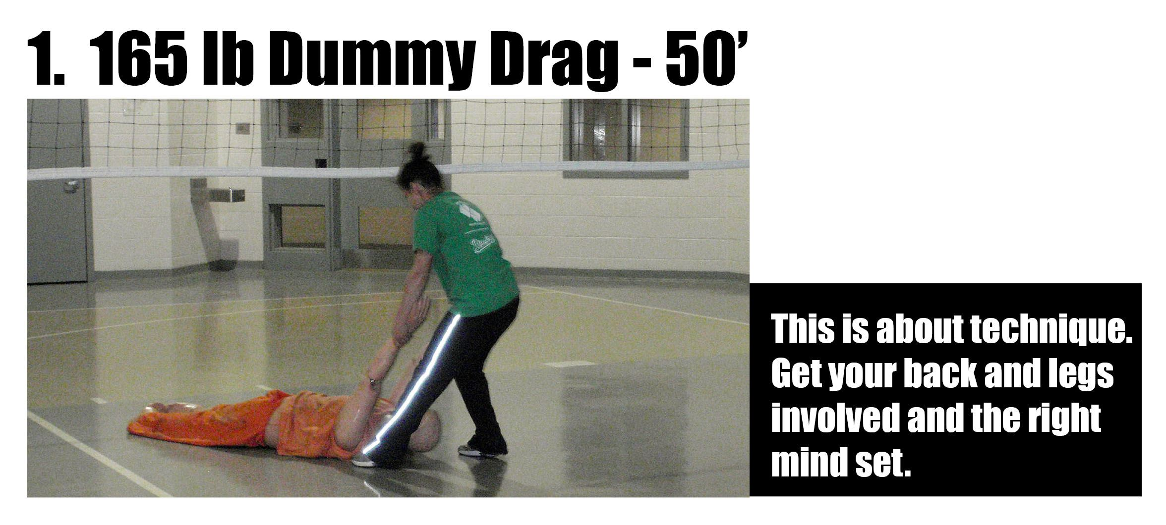 Woman Dragging Dummy Across Gym Floor