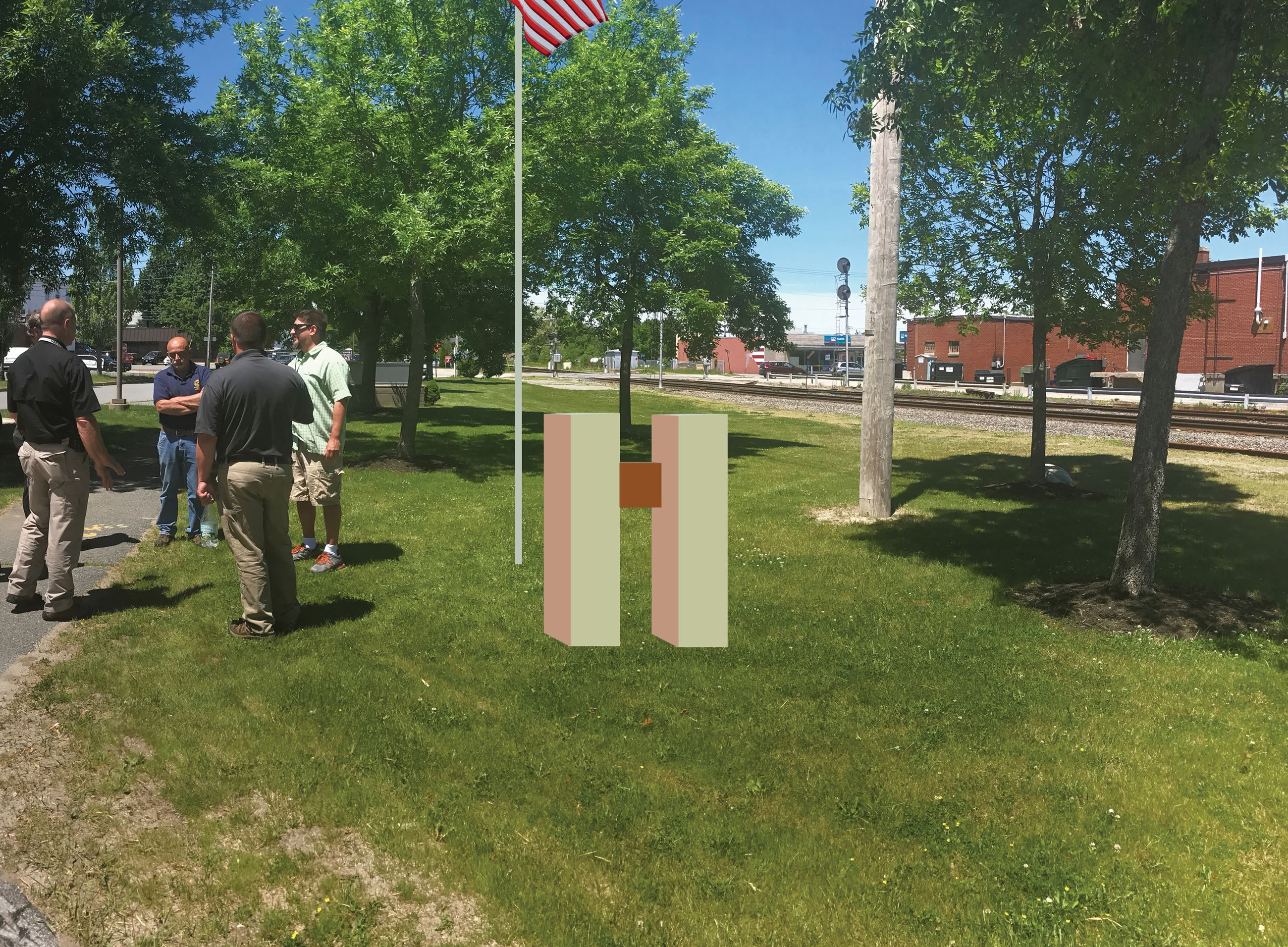 Artist Rendering of 9-11 Memorial in Grassy Area